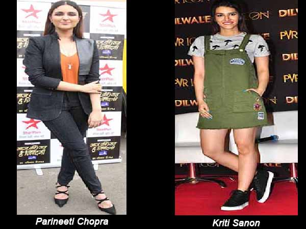 Parineeti in blazer and Kriti in dungaree