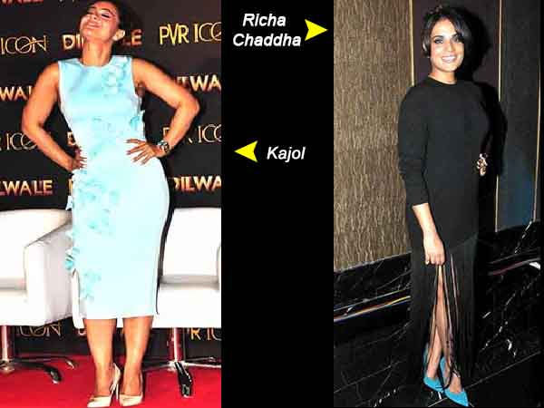 Kajol in teal bodycon dress and Richa in black tassel dress