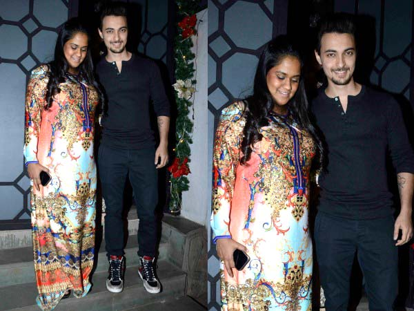 Arpita Khan at Restro bar in silk maxi dress