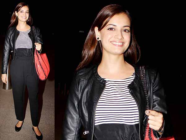 Dia Mirza in black leather jacket at the airport