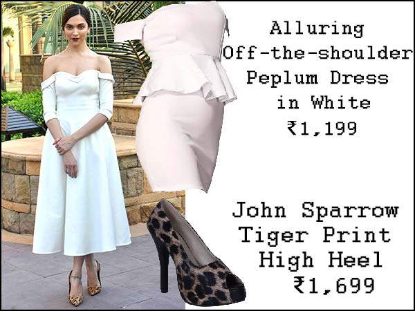 Deepika Padukone In White Off Shoulder Dress