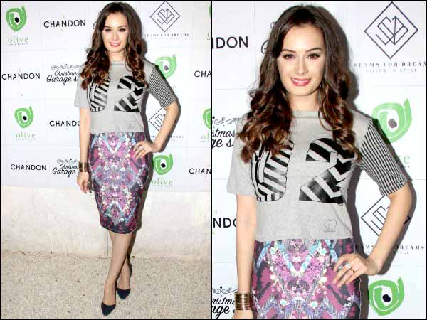 Evelyn Sharma in purple skirt