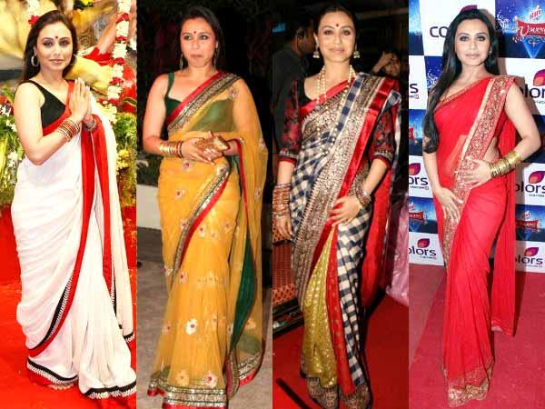 a85add765d7358 Star Signature Style  Rani Mukerji s Affair With Bordered Sarees ...