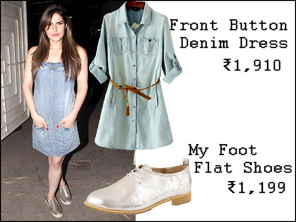 Zareen Khan In Denim Dress