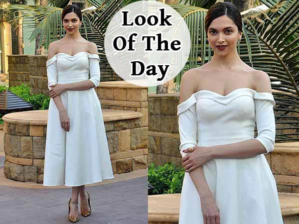 Look Of The Day: Deepika Padukone's Off-Shoulder White ...