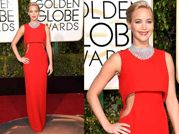Jennifer Lawrence In Red Dior Gown