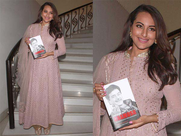 Sonakshi Sinha In A Pink Suit For Dad's Big Day