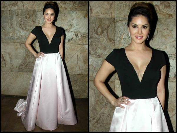 Sunny Leone in a satin gown
