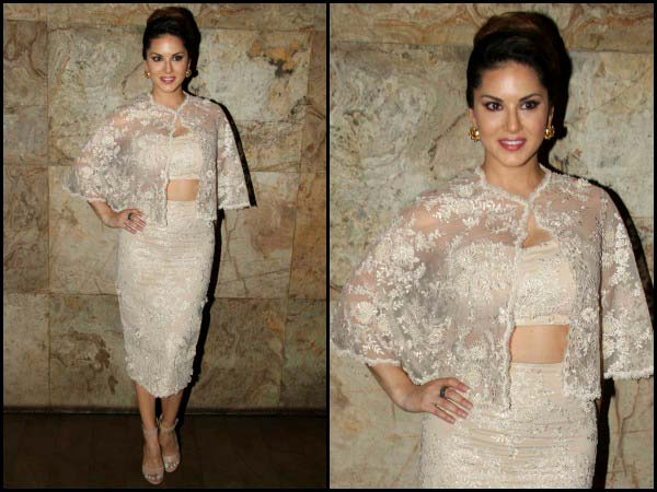 Sunny Leone in a lace dress