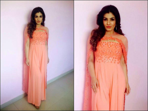 Raveena Tandon in peach dress