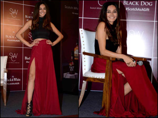 Shibani in black and red outfit