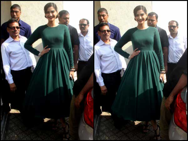 Sonam Kapoor in olive green dress