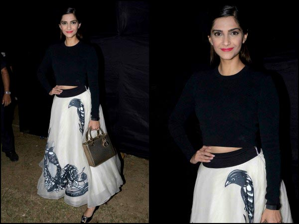 Sonam in a white skirt