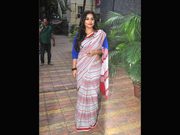 Vidya Balan in a printed saree and blue blouse