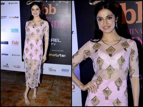 Divya Khosla in sheer pink outfit