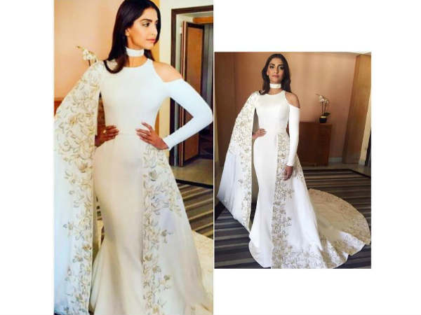 Sonam's White Cannes Red Carpet Look1