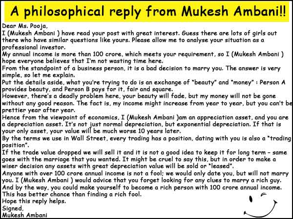 Mr. Mukesh Ambani's reply