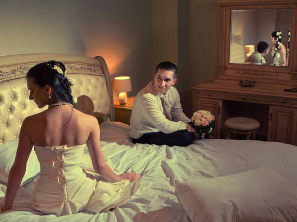 First marriage night photos that look
