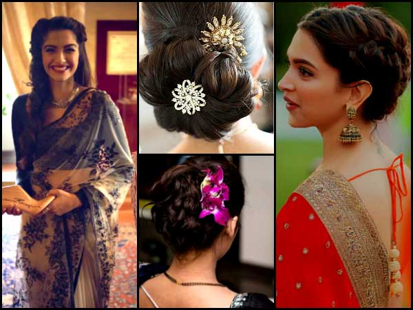 Hairstyles For Long Hair On Saree : 12 awesome saree hairstyles that you have never seen before boldsky