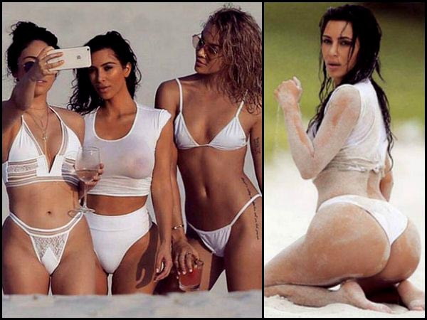 Holy Cow! Kim Kardashian In Hot White Swimsuit During A ...