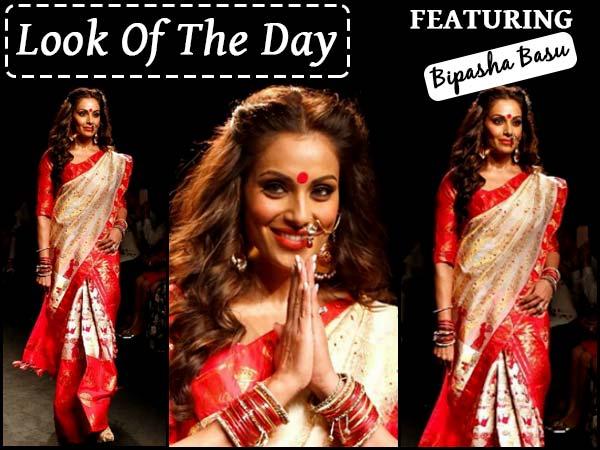 Look Of The Day: Bong Beauty Bipasha Basu Looked Enchanting In Sanjukta Dutta Saree #LFW2016