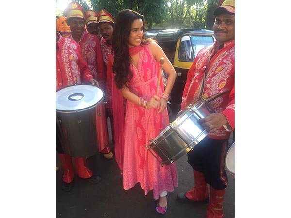 Shraddha Out On Street In Pink