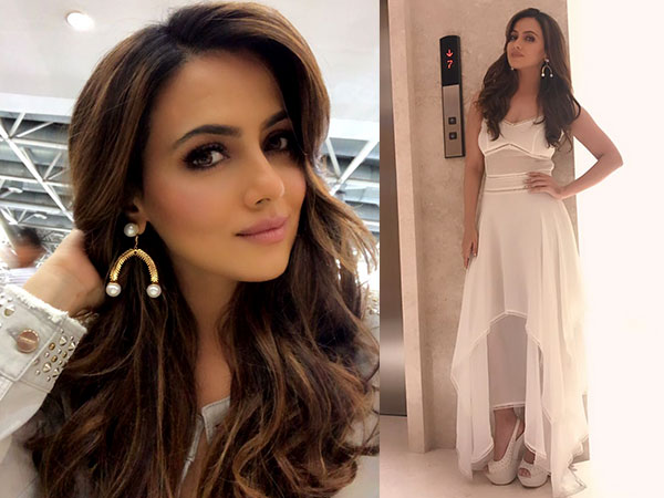 Sana Khan In Sheer White Dress