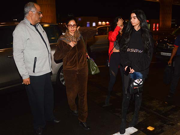 sridevi with her daughters spotted at airport