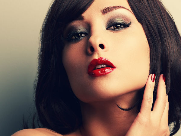 red lipstick and smoky eyes