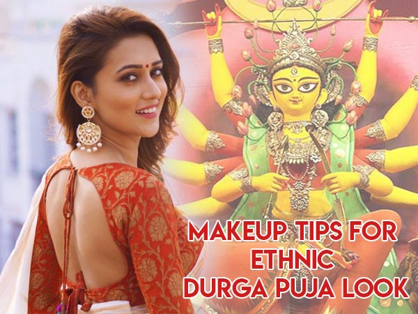 Durga Puja Special: Make-up Guide To Carry The Bengali Look OfWhite Saree With A Red Border