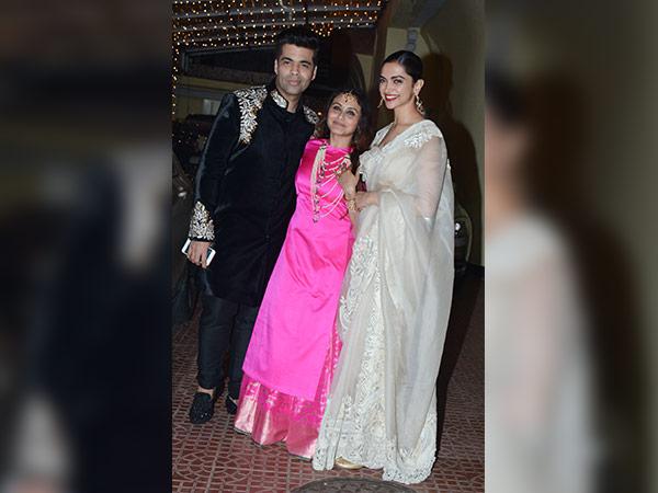 Deepika Padukone And Karan Johar Were Stunners At Rani Mukerji's Diwali Bash