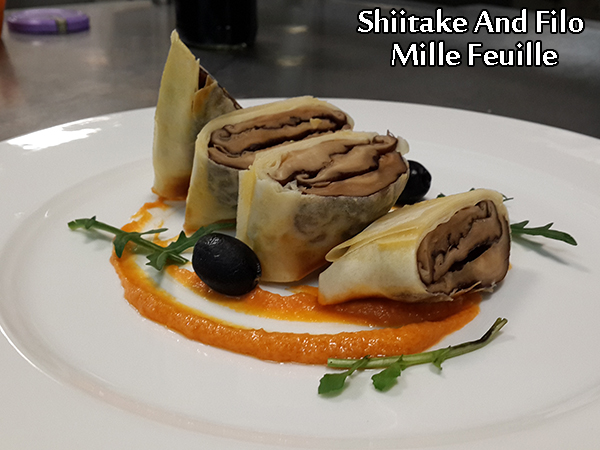 Shiitake And Filo Mille Feuille With Red Pepper Pesto Recipe