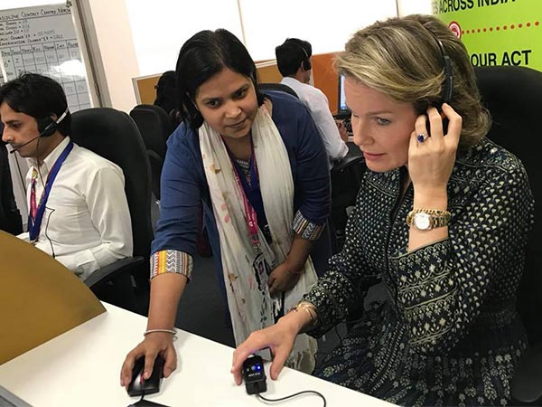 queen mathilde wearing anita dongre for india visit