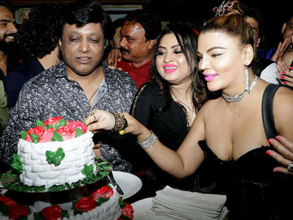 rakhi sawant in bold dress for friend's birthday
