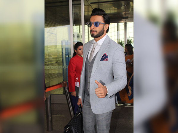 ranveer singh spotted at airport in formals