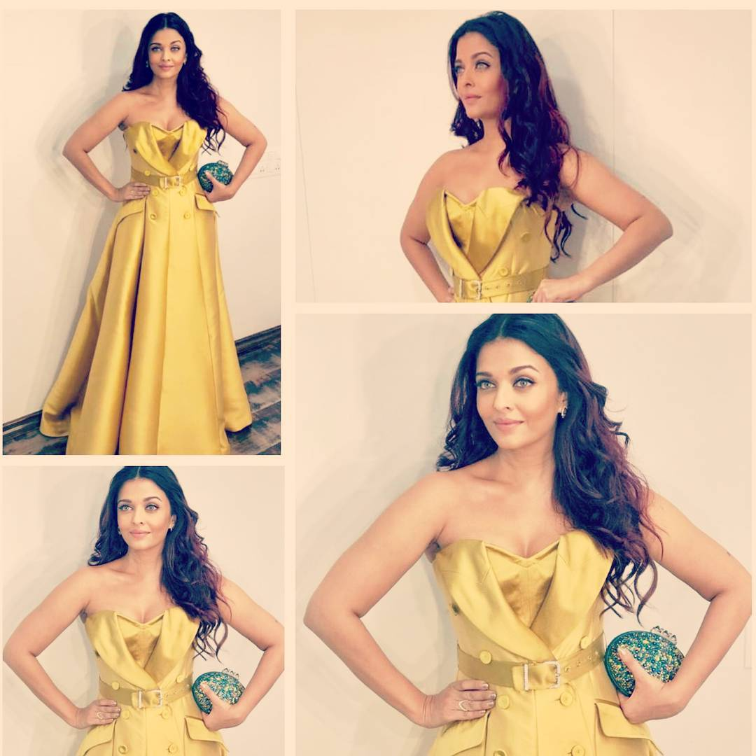 Aish Gleams In A Gold Gown