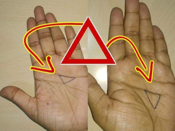 triangle on palm