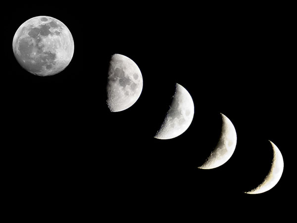 the changing moon phases