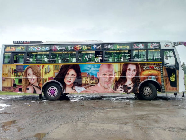 Kerala bus painted with adult stars