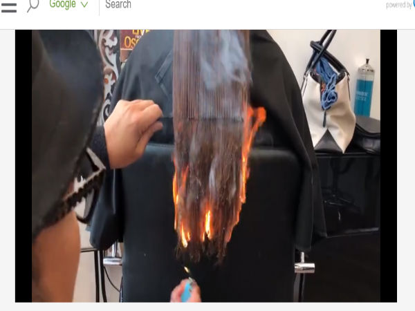 stylist set client's hair on fire