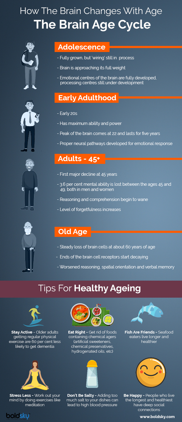 Infographics on Effects of ageing on the brain