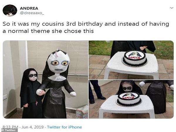 Girl Chooses 'The Nun' Theme For Her 3rd Birthday Party