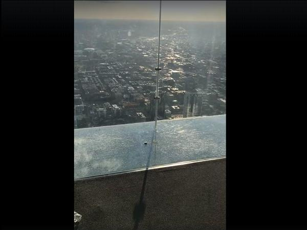 Glass Deck Coating Cracked On The 103rd Floor!