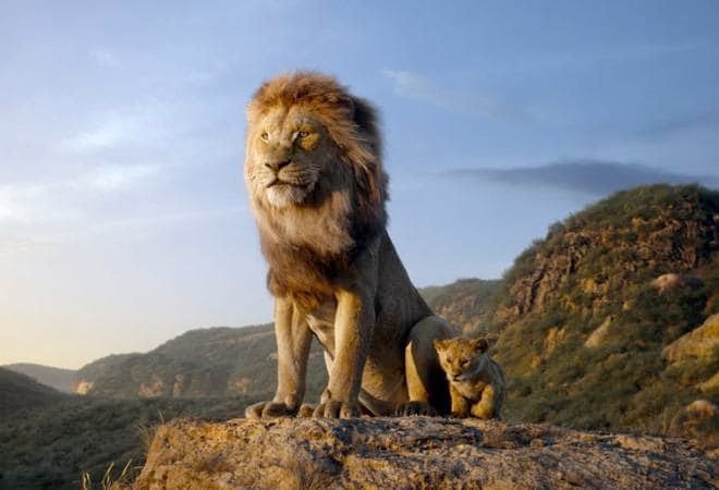 A still from the movie The Lion King having Simba beside his father Mufasa