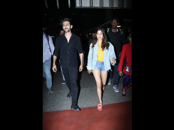 Airport Diaries: Janhvi Kapoor Sports Denim-On-Denim Look And Kartik Aaryan Keeps It All Black