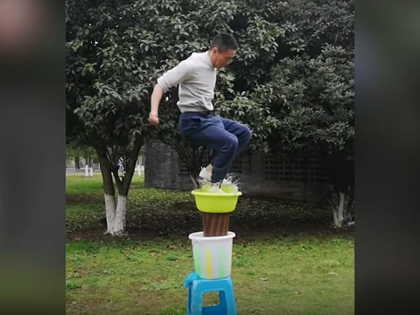 This Chinese Man Can Legit Jump On Water!