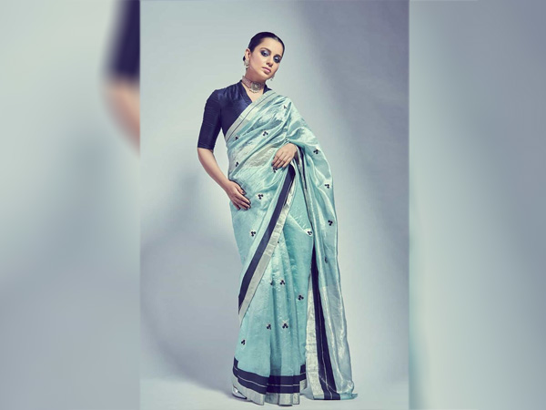 International Womens Day-Kangana Ranaut In An Aqua Blue Saree