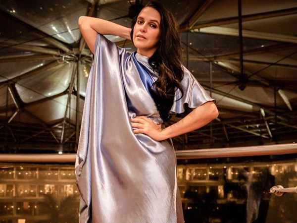 Neha Dhupia's Modern Metallic Dress Seems Inspired By Traditional Saree