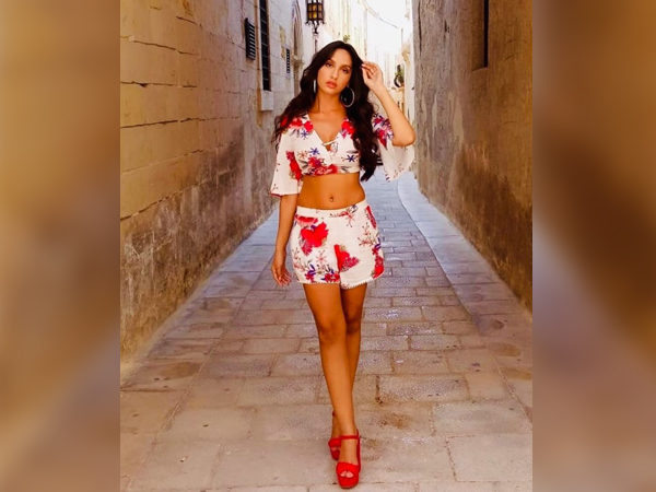 Nora Fatehi In Red Printed Separates