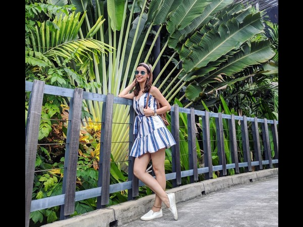 Sanaya Irani In A Blue Striped Dress